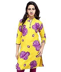 Sarva Women's Cotton Kurta (SC-0120285_Yellow_40)