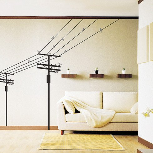 (20X28) Electric Poles And Birds Repositional Wall Decal