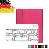 Besmall Ultra Slim Bluetooth Tastatur mit QWERTZ deutsches deutsches deutsches Tastaturlayout für iPad Air 1/iPad 5 Tastatur Schutz Hülle Tasche Keyboard Case(iPad Air 1/iPad 5,Rosa)XLYP23I-OZ