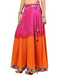 Zoyei Women's Faux Georgette Sharara(HB6_Pink and Orange_Free Size)