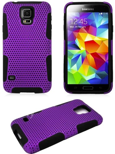 Mylife (Tm) Violet Purple And Dark Charcoal Black - Perforated Mesh Series (2 Layer Neo Hybrid) Slim Armor Case For The New Galaxy S5 (5G) Smartphone By Samsung (External Rubberized Hard Shell Mesh Piece + Internal Soft Silicone Flexible Gel + Lifetime Wa