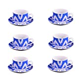 Ikat 'Coupe Shape' Cup And Saucer Set ( 6+6 Pieces)