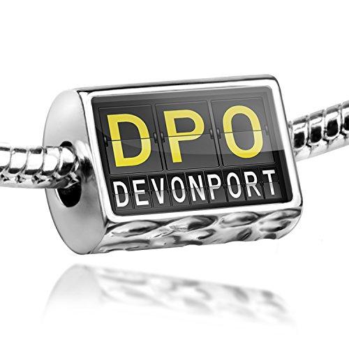 Charm Dpo Airport Code For Devonport - Bead Fit All European Bracelets , Neonblond