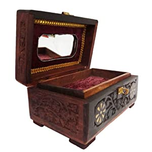 Antique decorative vintage style medium wooden jewelry box - Decorative trunks and boxes ...