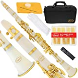 160-WH-N - WHITE/LACQUER Keys Bb B flat Clarinet Lazarro+11 Reeds,Case,Care Kit~24 COLORS Available,CLICK on LISTING to SEE All Colors
