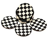 Drink Coasters Chess Board Pattern - Black and White Coaster - Retro Wood Coaster Set with 4 Round Handmade Table Coasters and Decorative Wooden Holder for Tea Cups Coffee Mugs Beer Cans Bar Tumblers and Water Glasses - Perfe