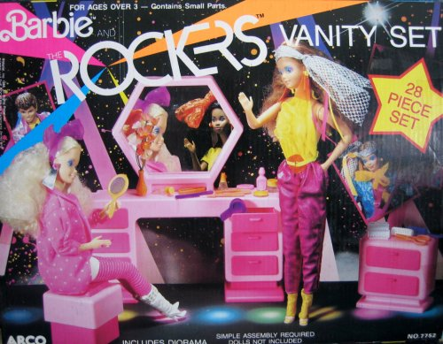Barbie and The Rockers Vanity Set - 28 Piece Playset 1986 Arco Toys, Mattel - Buy Barbie and The Rockers Vanity Set - 28 Piece Playset 1986 Arco Toys, Mattel - Purchase Barbie and The Rockers Vanity Set - 28 Piece Playset 1986 Arco Toys, Mattel (Barbie, Toys & Games,Categories,Dolls,Playsets,Fashion Doll Playsets)