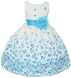 100% Cotton Floral Spring Easter Flower Girl Dress in Aqua Daisy - 6