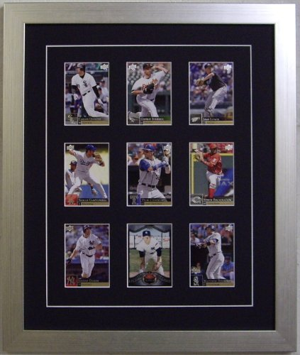 Trading Card Display Frame for 9 Cards with Black Matting and Brushed Silver Frame (Card Display Frame compare prices)