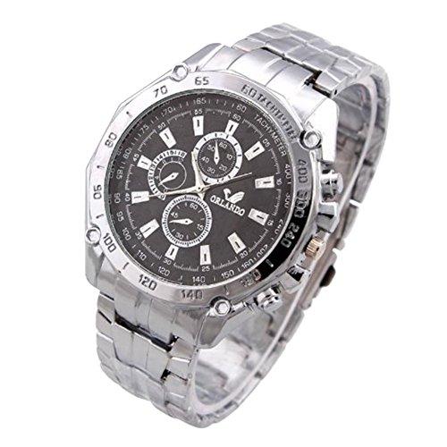 Fandecie Acero completa de los hombres reloj de acero inoxidable de la correa de los relojes de cuarzo ORIANDO la marca de relojes de pulsera de lujo (Negro)