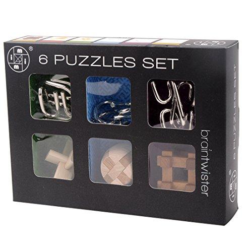 FINER 6Pcs IQ Brain Teaser Set Metal Puzzle + Wooden Kong Ming Lock for Children Adults MT1142