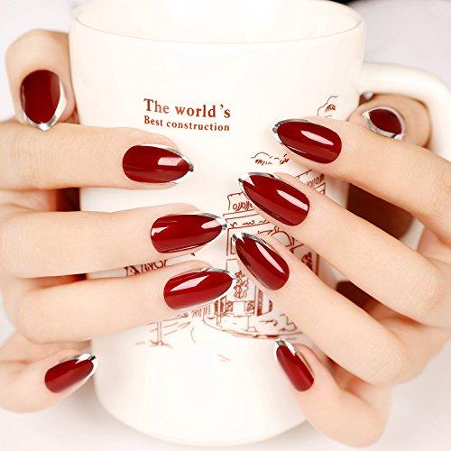 [24pcs Simple Beauty Kiss Nail Artificial False Nail Art Tips Sexy Red Silver Edge Hand Nails Z107] (Red Fake Nails)