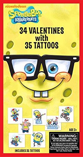 Paper Magic 34CT Deluxe - Tattoos SpongeBob SquarePants Kids Classroom Valentine Exchange Cards - 1