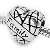 &quot; Family on Heart &quot; Antiqued Silver Bead Charm Spacer Pandora Troll Chamilia Biagi Bead Compatible