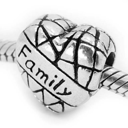 """ Family on Heart "" Antiqued Silver Bead Charm Spacer Pandora Troll Chamilia Biagi Bead Compatible"