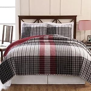 Pem America Plaid Comforter Set Queen Black