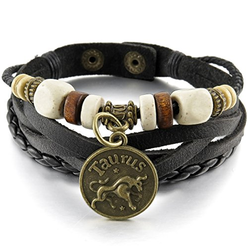 munkimix-alloy-genuine-leather-bracelet-bangle-cuff-black-gold-taurus-horoscope-zodiac-bead-charm-ad