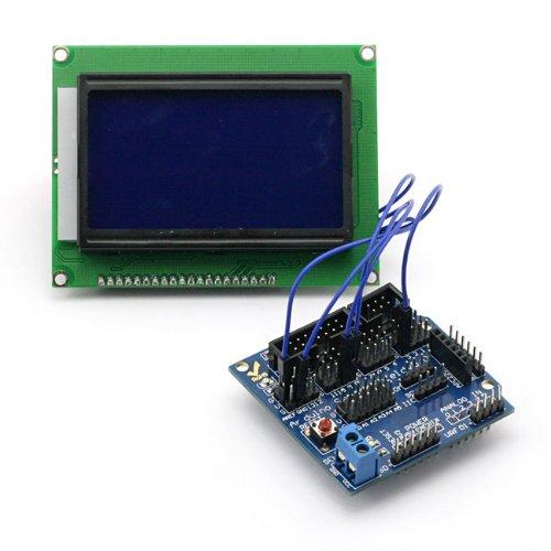 Sainsmart C29 Kit With Graphic 12864 Blue Lcd + Sensor Shield V5 For Arduino Uno R3 Mega Mega2560 Nano Due Duemilanove Avr Atmel Robot Xbee Zigbee