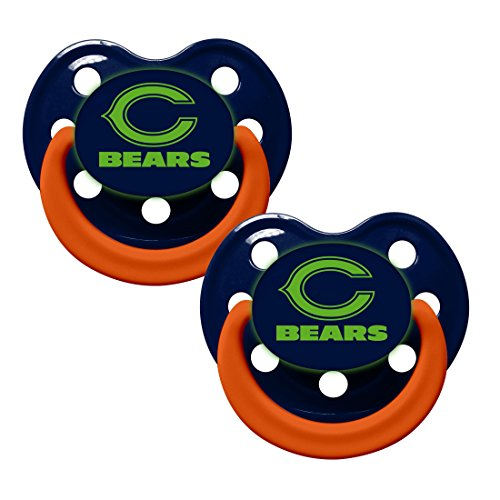 NFL Football Team Logo Baby Infant Glow In The Dark Pacifier 2-Pack (Chicago Bears)