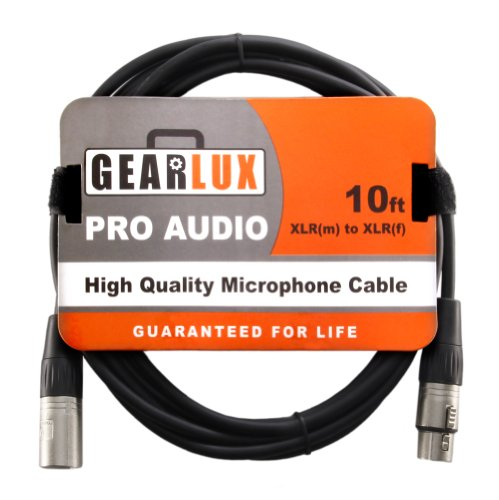 Gearlux Balanced 10-Foot Xlr Microphone Cable With Oxygen-Free Copper Conductor - Male To Female