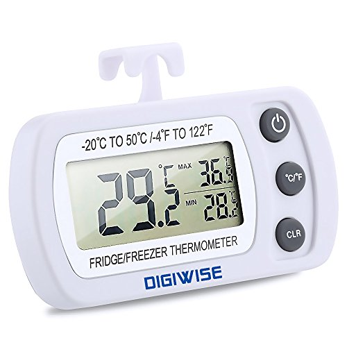 Digiwise Digital Refrigerator Freezer Fridge Thermometer, Wireless with Large LCD, White (Refrigerator Thermometer Plastic compare prices)