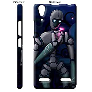 TheGiftKart Robot With Beating Pink Heart Back Cover Case for Lenovo A6010 - Multicolor