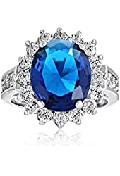 Valentine Gifts Royal 5ct Oval Simulated Sapphire Engagement Ring Rhodium Plated