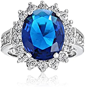 Bling Jewelry Royal 5ct Oval Simulated Sapphire Engagement Ring Rhodium Plated