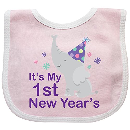 Inktastic Baby Boys' It's My 1st New Year's elephant Baby Bib Pink/White
