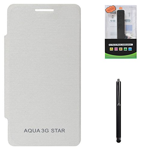DMG Hard Back Flip Book Cover Case For Intex Aqua 3G Star (White) + 2600 MAh PowerBank + Stylus