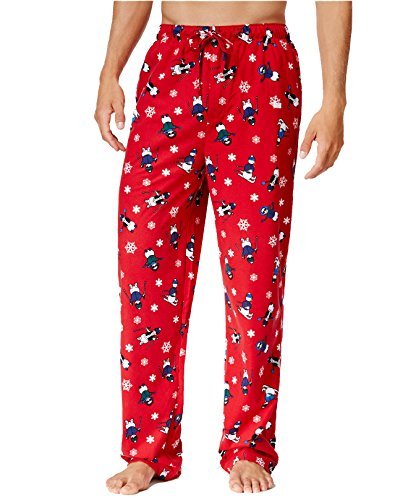 Club Room Men's Novelty Print Pajama Pants, Red Skiing Snowmen (Large)