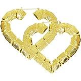 """3 X 3.5"""" Bamboo Heart Hoop Earrings, in Gold Tone"""