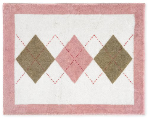 Pink and Brown Argyle Accent Floor Rug by Sweet Jojo Designs