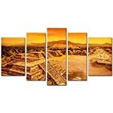 5 Pieces Modern Canvas Painting Wall Art The Picture For Home Decoration Pyramids Of The Sun And Moon On The Avenue Of The Dead,Ruins Of Aztec Civilization, Mexico Architecture Ruin Print On Canvas Giclee Artwork For Wall Decor