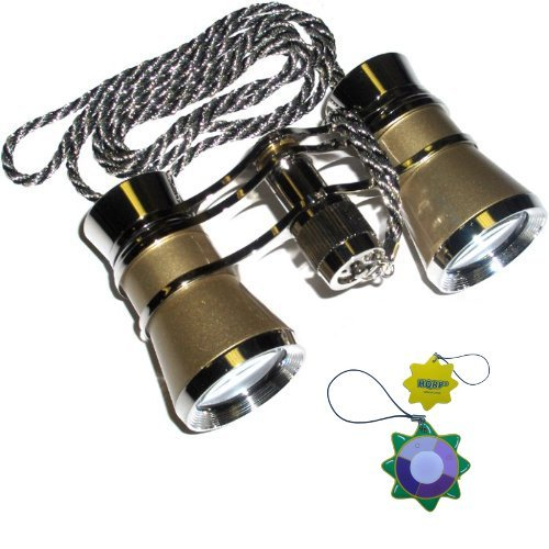 Hqrp Theater Binoculars Golden With Silver Trim W/ Necklace Chain By Hqrp Plus Uv Meter