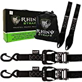 """RHINO USA Ratchet Straps Motorcycle Tie Down Kit, 5,208 Break Strength - Includes (2) Heavy Duty 1.6"""" x 8' Rachet Tiedowns with Padded Handles & Coated Chromoly S Hooks + (2) Soft Loop Tie-Downs"""