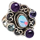 Ana Silver Co Rare Fire Opal, Amethyst 925 Sterling Silver Ring Size 6.25