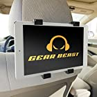 Gear Beast Secure Grip Universal Headrest Tablet Mount for 7 inch to 10.2 inch Tablets including Apple iPad 2,3,4, iPad Air, iPad Air 2, iPad Mini, Samsung Galaxy Tab, Tab S, Galaxy Note 10.1 and 8.4, Google Nexus, ASUS Transformer Book, Memo Pad, VivoTab, Microsoft Surface, Dell Venue, Nvidia Shield, Lenovo Idea Tab, Sony Xperia, and Acer Iconia Tab. Easy install, no tools required.