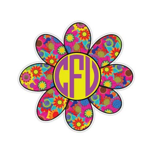 MeganJDesigns Customizable Monogram Flower Sticker Colorful Floral Daisy Cute Car Decal Personalized Custom Initial Laptop Bumper Sticker (Colorful Initial Car Decals compare prices)