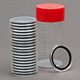 1 Airtite Coin Holder Storage Container & 20 Black Ring 26mm Air-Tite Coin Holder Capsules for Small Dollars