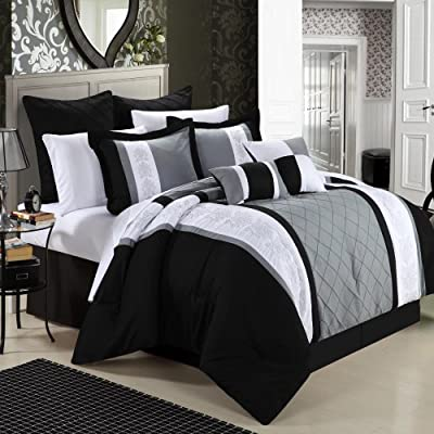Chic Home 8-Piece Embroidery Comforter Set, King, Livingston Black by CHIRF