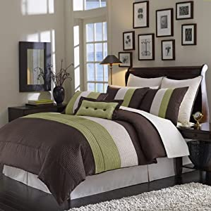12pc California King SAGE & CHOCOLATE Grand Park BED IN BAG Comforter & EGYPTIAN COTTON Sheet Set