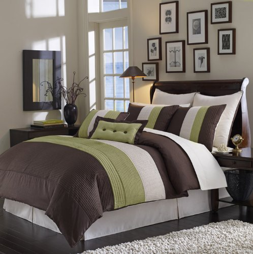 8pc CALIFORNIA KING Size SAGE & CHOCOLATE Grand Park BED IN A BAG Ensemble COMFORTER SET