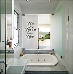 Relax rejuvenate refresh wall quote bathroom quote for Bathroom ideas amazon