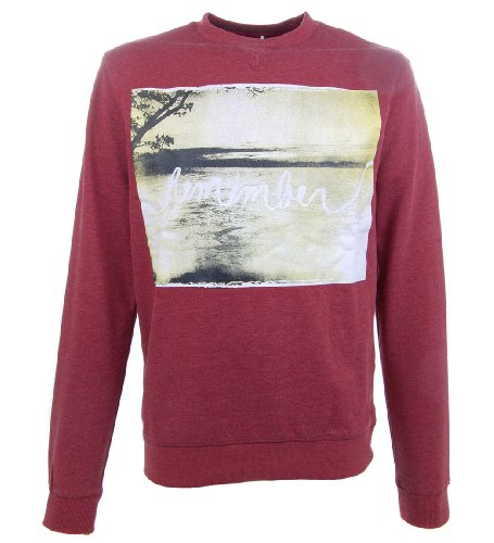 D-Struct 'Maikel' Men's Crew-Neck Graphic Print Sweatshirt Burgundy Marl XXL