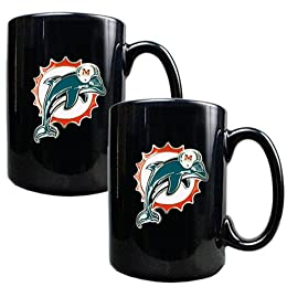2 Pc Miami Dolphins Coffee Mug Set - Black : Target