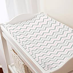 Carousel Designs Pink and Gray Chevron Changing Pad Cover