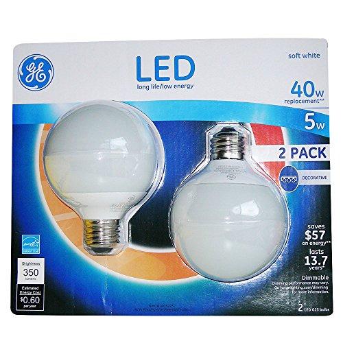 GE LED 5 Watt G25 Soft White Frosted Globe (2