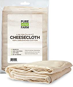 Cheesecloth - 45 Sq Feet: Grade 50 - 100% Unbleached Cotton - Filter, Strain, Nut Milk Bag, Reusable