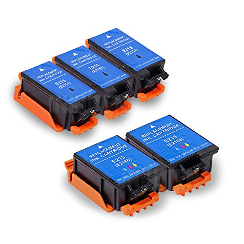 INKUTEN TM Replacement Epson 215 T215 T215120 T215530 Ink Cartridge (3 Black, 2 Color) - 5 Pack For Epson WF-100